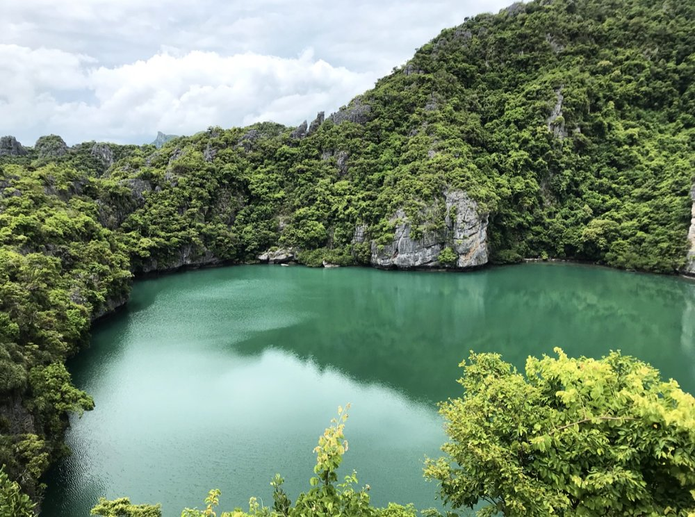 Emerald green Lake at the top of Koh Mae Koh. I couldn't stop staring at it. The view up here is breathtaking.
