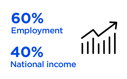 Emerging Opportunities - Formal Small and Medium Enterprises (SMEs) alone make up to 60% of total employment and up to 40% of national income (GDP) in emerging economies. These numbers are significantly higher when informal SMEs are included.