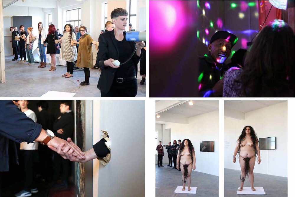 Passionate Instincts  Opening Performances, 7 October, 2015. Top left and right, bottom left: val smith. Bottom right: Darcell Apelu.