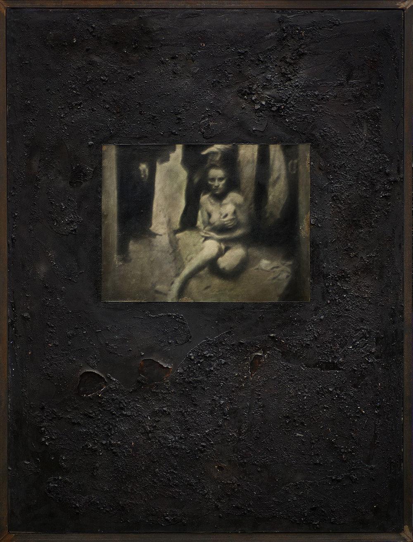 Untitled : 2018 : Mixed Media;Oil, Bone, Ash, Steel, Epoxy.