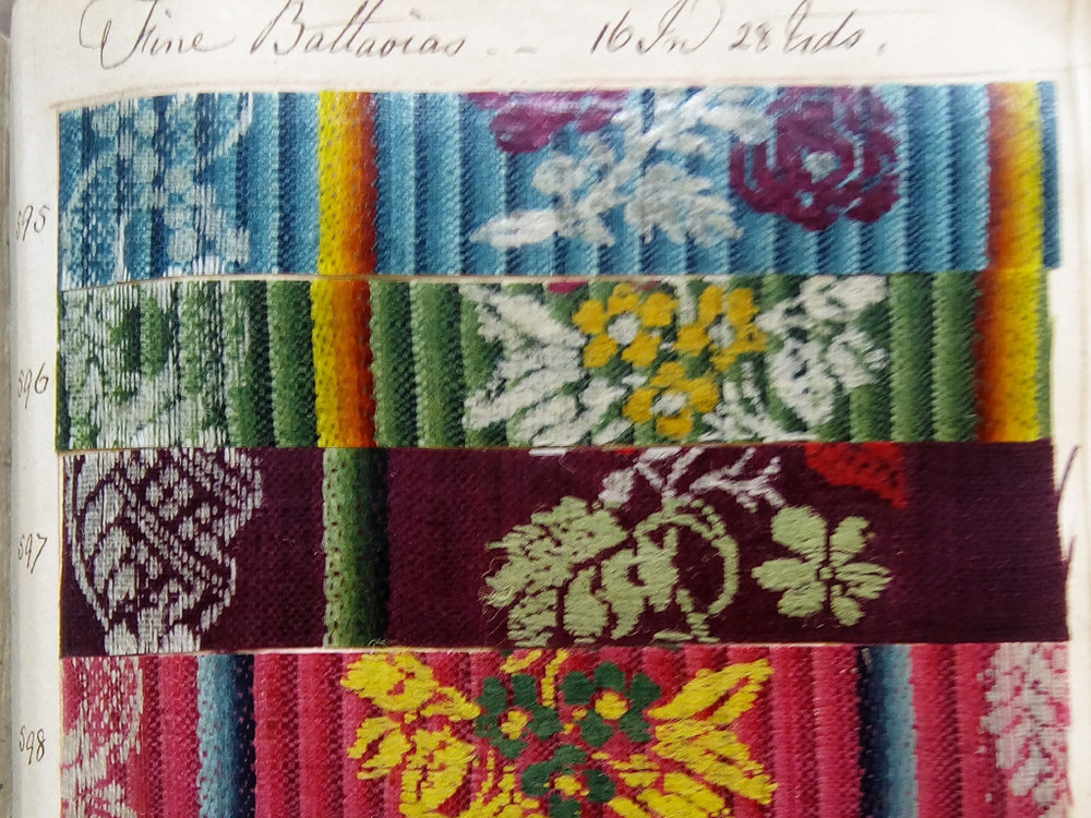 The pattern books hold a huge selection of woven designs, all with their own distinctive names and characteristic elements.  image courtesy Norfolk Museum Services