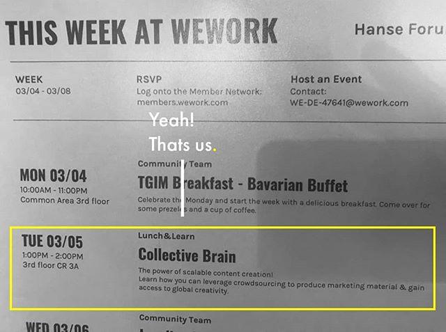 Lunch & Learn at WeWork in the Hanse Forum! __________________________________________________ #wework #crowdsourcing #crowd #crowdsourcing #presentation #startup #business #marketing #creativ