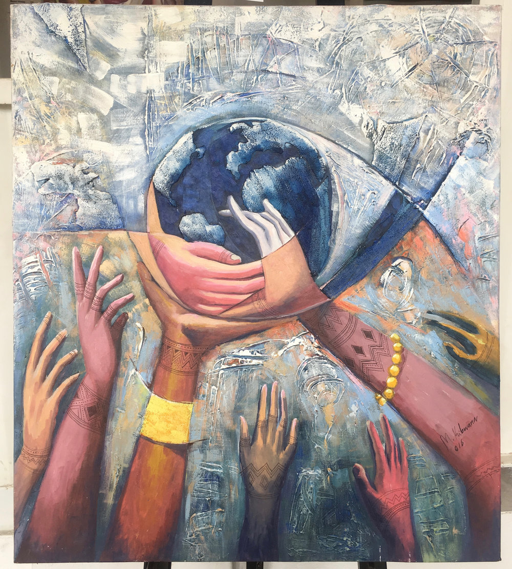 Save The World, Mixed Media, 70x60cm (c) Masoud Kibwana