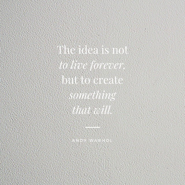 The idea is not to live forever but to create something that will. #MondayMotivation #ArtLife #ContemporaryArt #TheLLTA #FineArt
