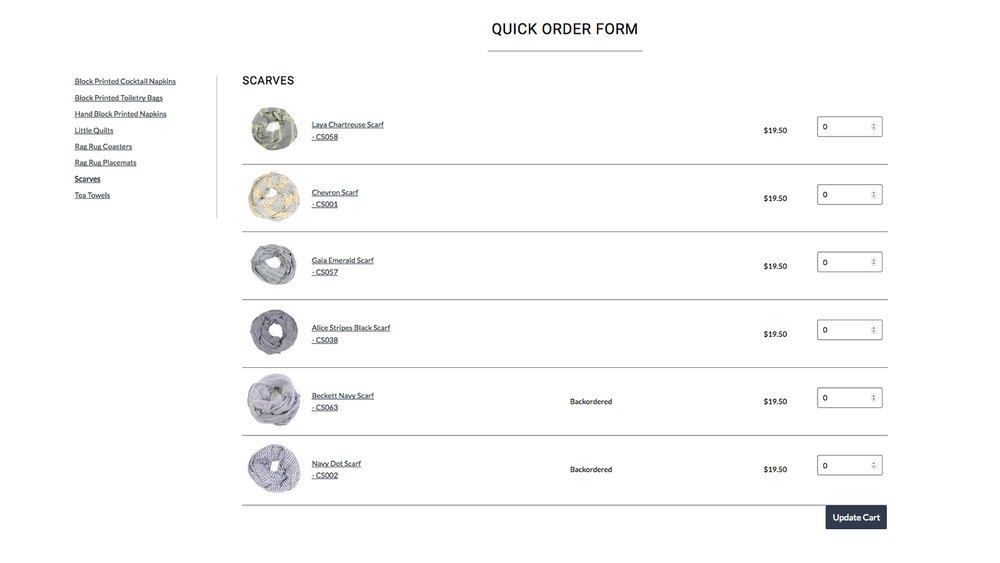 Tools stockists want. - Other apps charge you extra for single-page order forms, plus you need HTML and CSS knowledge to make them look pretty (unless you want to hire a Shopify developer of course). Wholesale Gorilla comes with a beautifully designed Quick Order form to make online wholesale easy.
