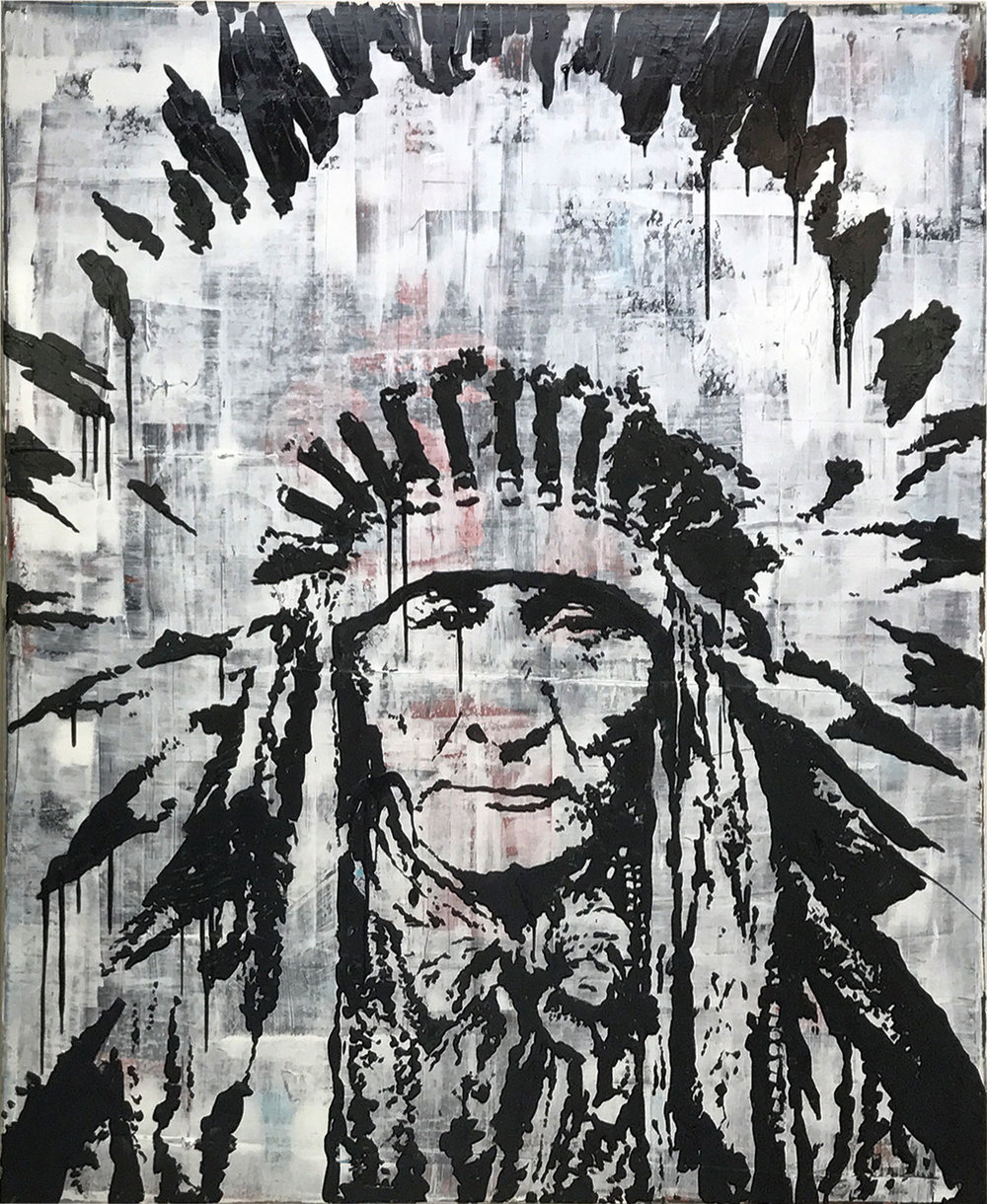 CHIEF - 52 X 60Acrylic, and ink on canvas
