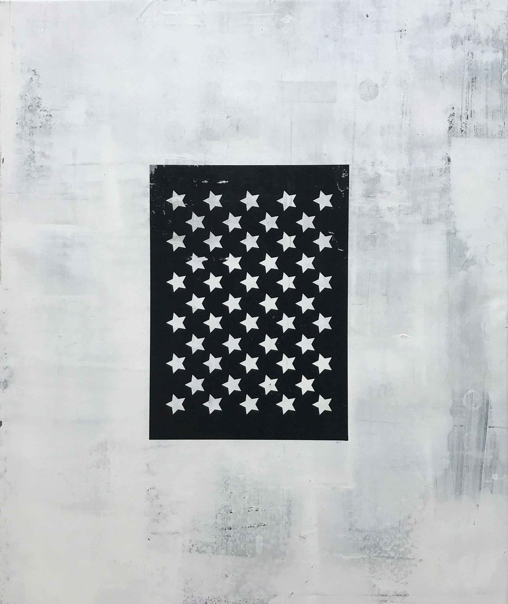 black flag - 30 x 36Screen print and acrylic on canvas