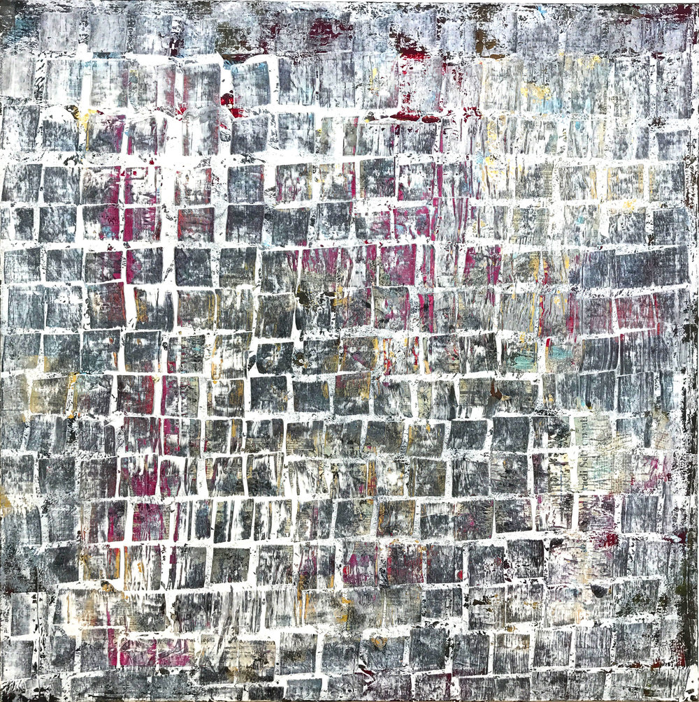 sequins - 40 x 40Acrylic and newsprint on canvas.