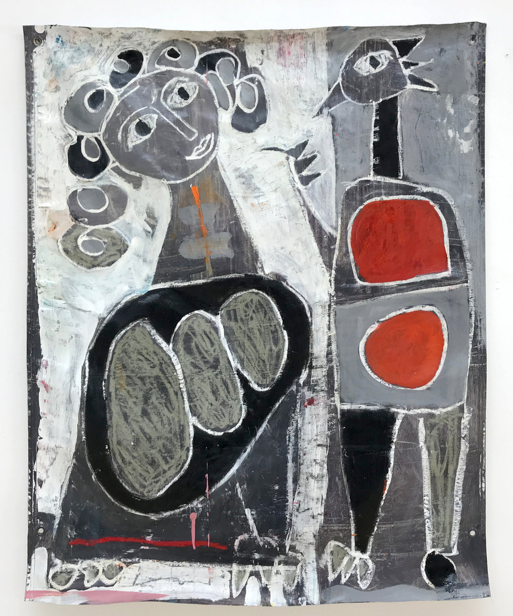 love birds - Mixed media on banner