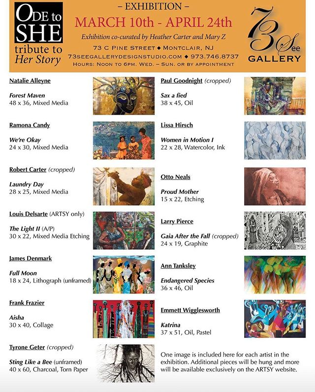 Another gallery, another opening this weekend @73see_gallery ☮️ Sunday, March 10th, 3:30 to 6:30 public reception and opening. Don't miss this unique celebration of women.