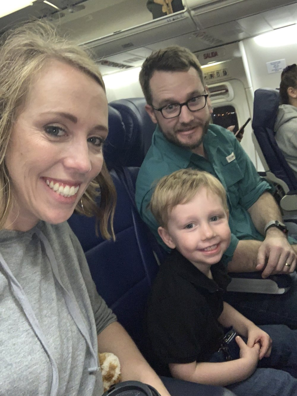 We had a flight change, and our little trooper rocked the 3:45 a.m. wake up to be on a flight at 6 a.m. Glad that he's a good traveler!