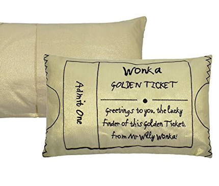 Willy Wonka Golden Ticket Cushion