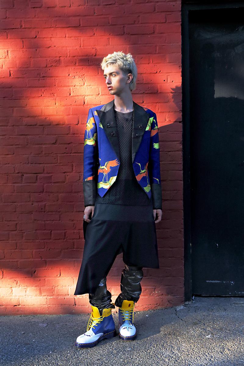 Shirt  Geoffrey Mac , Jacket with Tails & Patent Leather Jodhpurs  Malan Breton , Shoes  Dr. Martens