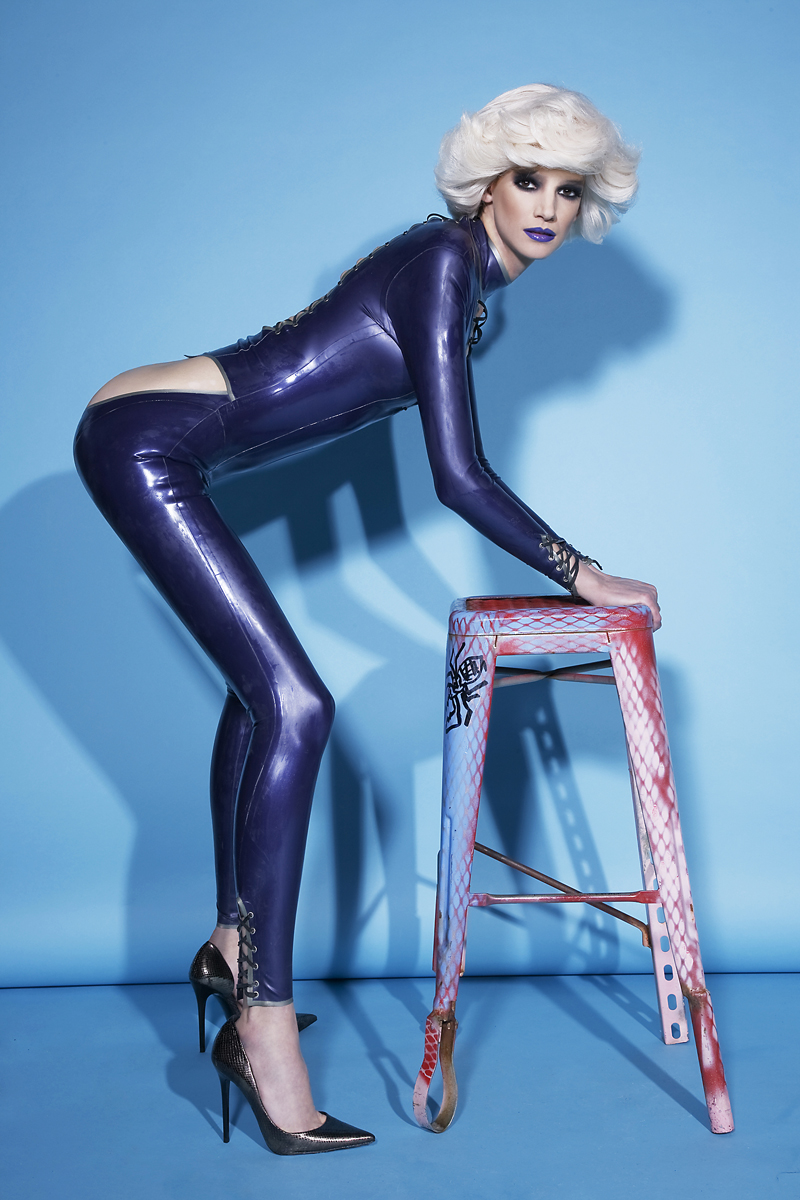 Catsuit  Vex,  Vintage Heels  Azzedine Alaia         creditS  PHOTOGRAPHER   BARRY HOLLYWOOD    STYLIST  CARLOS DAVIS   HAIR & MAKEUP  BRUCE DEAN for MAC and AQUAGE @ ARTISTS WILHELMINA   MODEL  JESSICA PITTI MAJOR MODELS