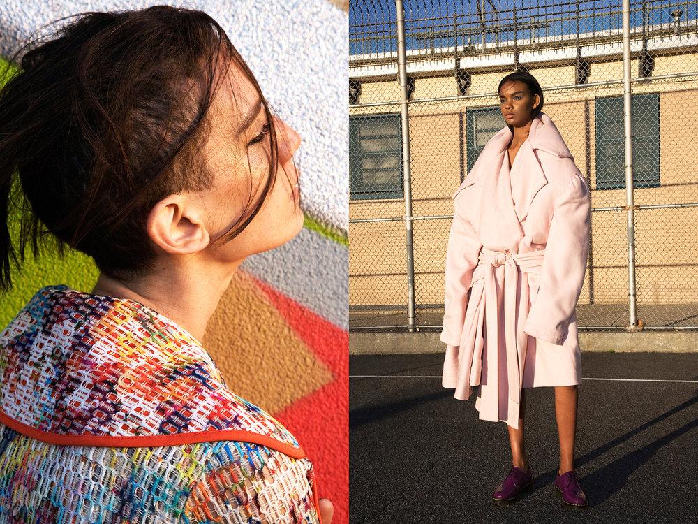 LEFT:Coat  Emmelle  RIGHT:Coat  Ev Bessar, Shoes  Doc Martens