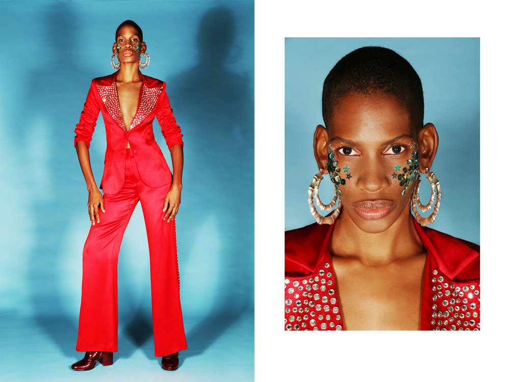 SEQUin collar jacket and coordinating pant by  STELLaire,  EArrings  LAruicci,  Vintage boots  models own