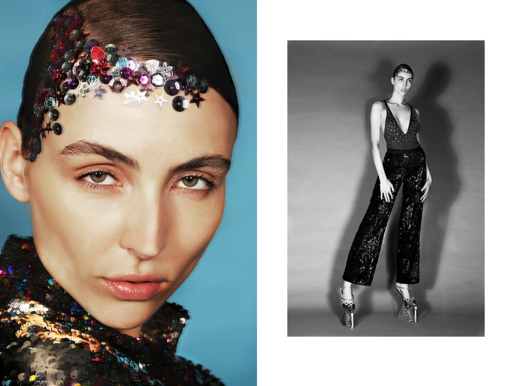 """sequin jacket """"an italian theory"""" by  alessandro enriquez  RIGHT:   Bodysuit by  STELLaire,  Sequin pant by  sfizio,  platform heels by  namilia"""