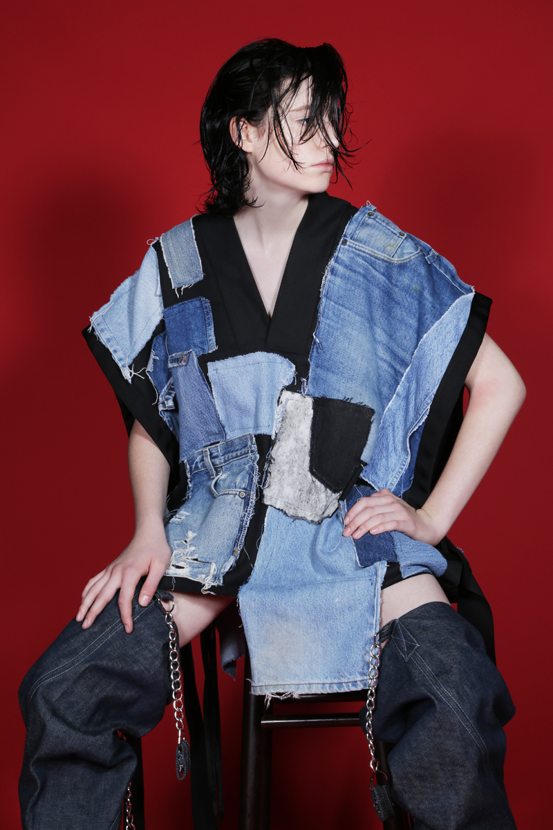 VEST BY  DOPE TAVIO AVAILABLE AT PATRICIA FIELD,  DENIM THIGH HIGH BOOTS BY  HARDEMAN