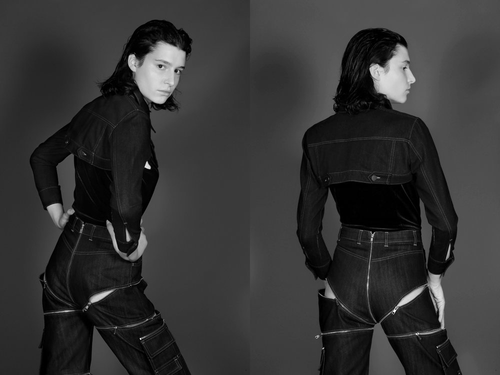 Cropped denim jacket, high waisted jeans with zipper detail and velvet bodysuit by  hardeman