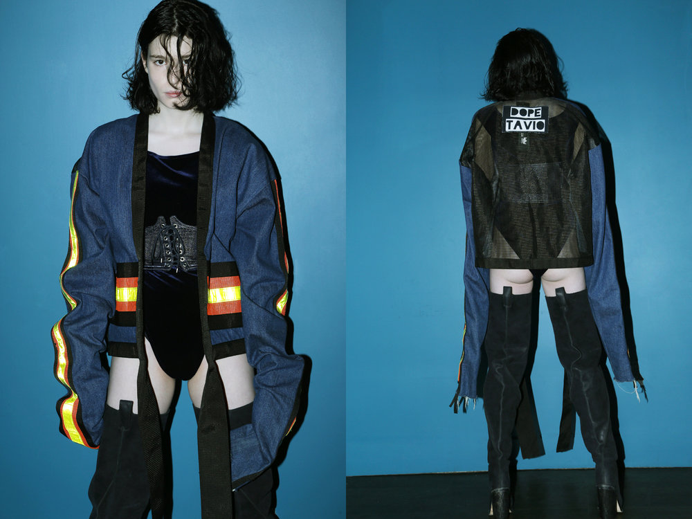 Denim jacket by  dope tavio at patricia field,  Velvet bodysuit, denim corset belt and leather boots by  Hardeman