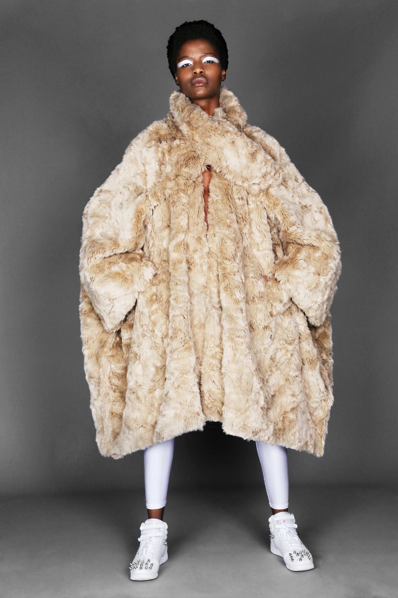 fur coat by  junya watanabe,  Sneakers  Junya watanabe