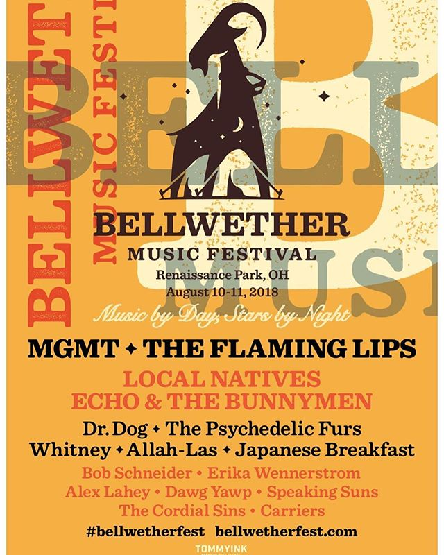We are very excited to announce we will be playing at this festival in Waynesville, Ohio August 10-11 with so many amazing artists! Thanks @bellwetherfest !
