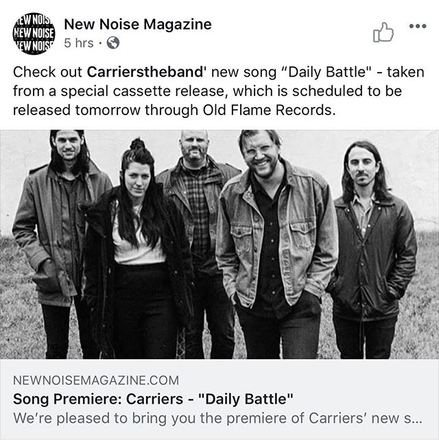 """Thanks @newnoisemagazine for sharing the second song from our cassingle """"Daily Battle"""" 🎸🎸🎸we used a few 12 strings on this song! Thanks again to John Curley, Bryan Devendorf, Cory Pavlinac, Trent Becknell, Aaron Collins & Isaac Karns for your help with recording these songs! Check it out & grab a tape on Saturday @motrpub music at 10pm! Link in BIO! . . . . #carriersband  #carrierstheband  #cassingle  #cincinnatimusic"""