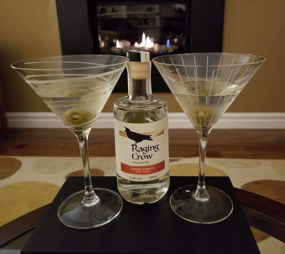 Raging Fiery Martini - 1.5 ozs of Raven Lunatic spicy vodkaHint of VermouthOne drunken olive.