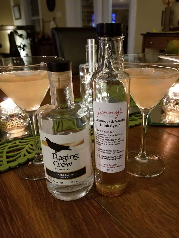 Lovin' Lavender - 1.5 ozs of Raging Crow Nazdrowka Vodka (NOT optional)1 oz Lavender & Vanilla1 oz lemon juicePour over iceDrop in to the distillery for the Nazdrowka Vodka and Jenny's syrup!