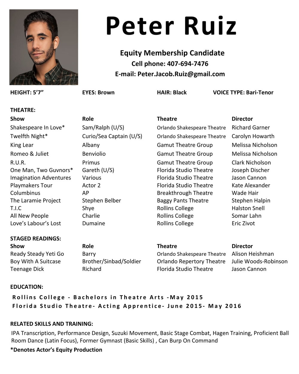 Resume — Peter Ruiz- Actor & Teaching Artist