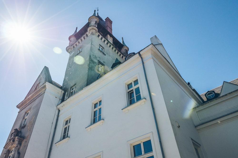 castle facade in summer in osowa sien Poland