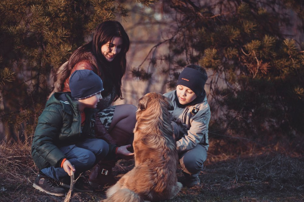 family gathers around their dog while out on a walk in the woods