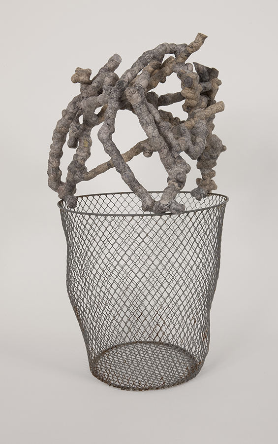 Lid on Basket  2010 paper maché, metal container 20 x 11 x 11.5 inches Photo: Chris Cardinale