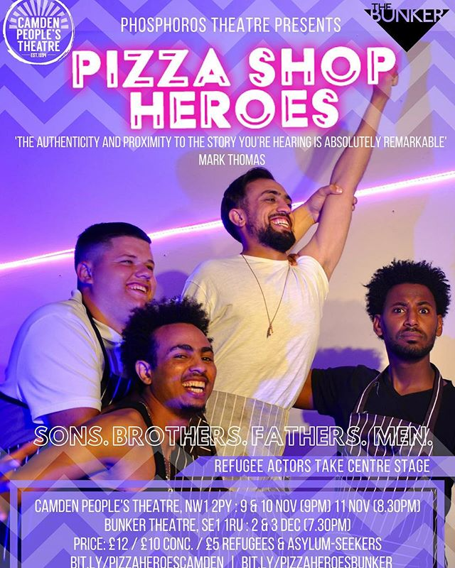 Have you heard about Pizza Shop Heroes yet? Our new autobiographical show looks at forced migration experiences of Unaccompanied Asylum Seeking Children, as well as masculinity, colonialism and fatherhood! All performed by lived-experience refugee actors.  We're at @camdenpeoplestheatre on 9-11 Nov then @bunkertheatreuk 2&3 Dec ❤️🙌🏽 https://www.cptheatre.co.uk/production/pizza-shop-heroes/