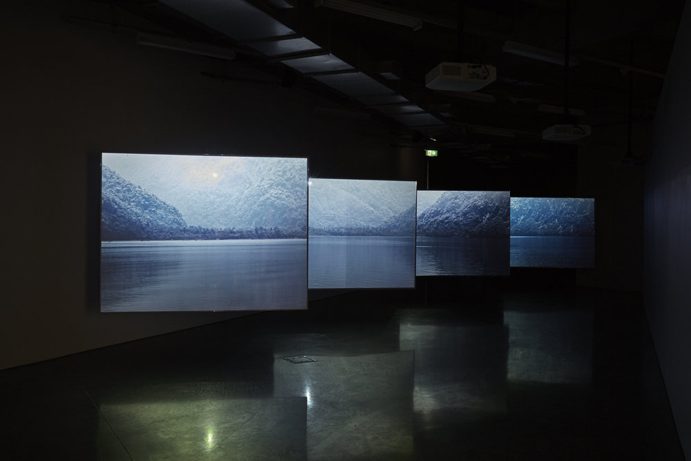 Alex Monteith,  Coastal Flows/Coastal Incursions: In Light of Time , 2017, four channel HD video, 32mins 47sec.