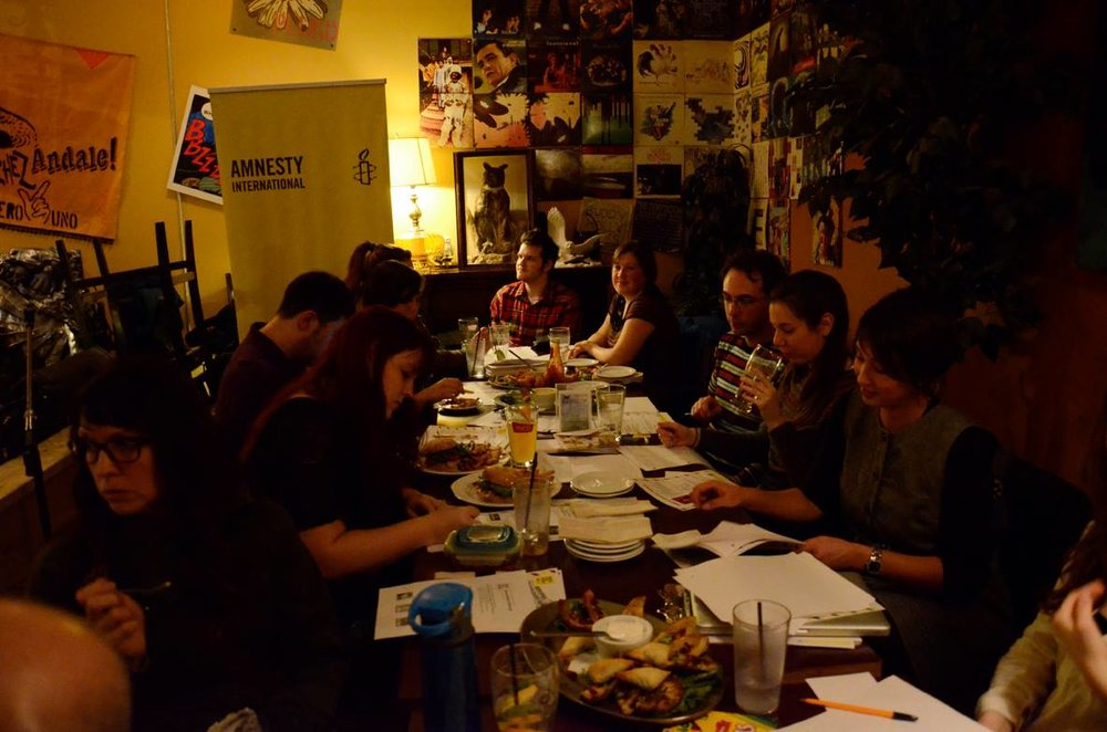 Amnesty International monthly letter writing at Owl Acoustic Lounge, Lethbridge, Alberta