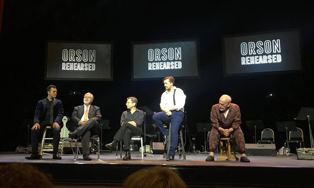 Post performance talkback with New Mercury Collective members (l to r) Omar Mulero, Daron Hagen, Roger Zahab, Robert Frankenberry, and Robert Orth at the Studebaker Theater in Chicago, 15 September 2018.