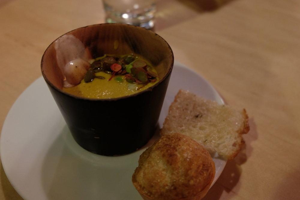 Soup - Squash Carrot / Marshmallow / Pepitas  Bread - Rosemary Foccacia / Pao De Queijo