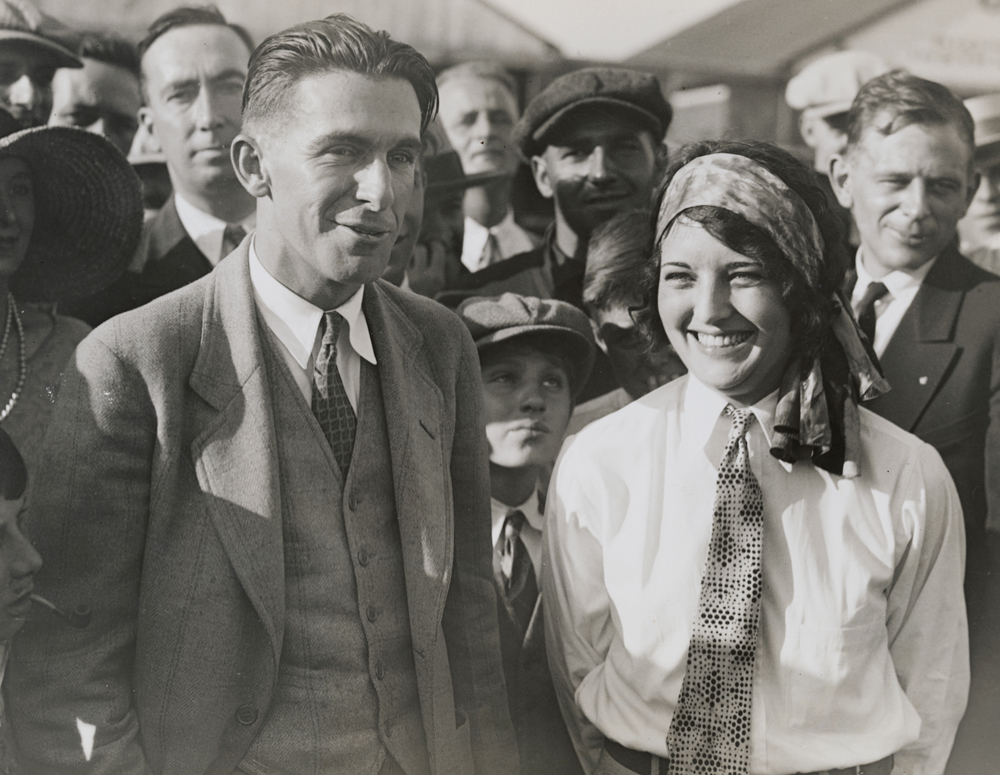 Ruth Elder, right, with the help of George Haldeman, left, was determined to be the first woman to fly across the Atlantic Ocean in late 1927.  Getty Images