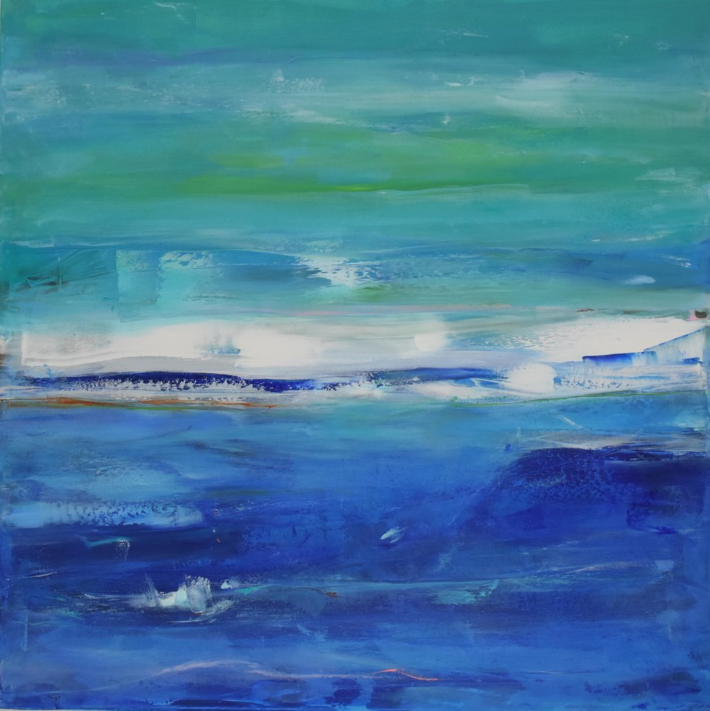 CROSSING THE OCEAN , OIL ON CANVAS, 40 X 40 INCHES CAD $ 2900.-