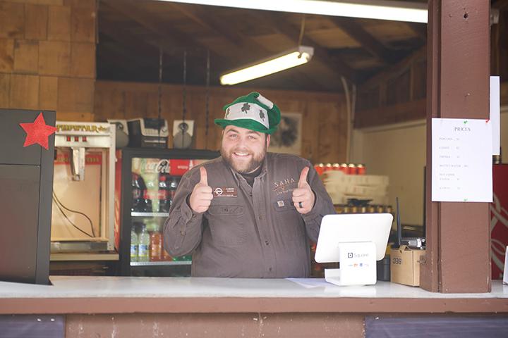 SAHA Executive Director, Carson Sailor, working the concession stand.