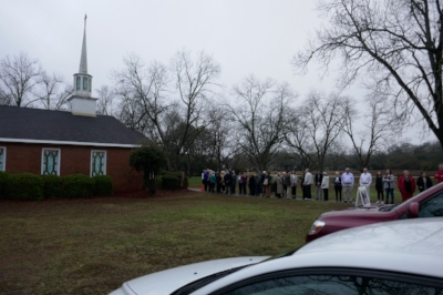 The Sunday morning line at Marantha (Plains, GA)