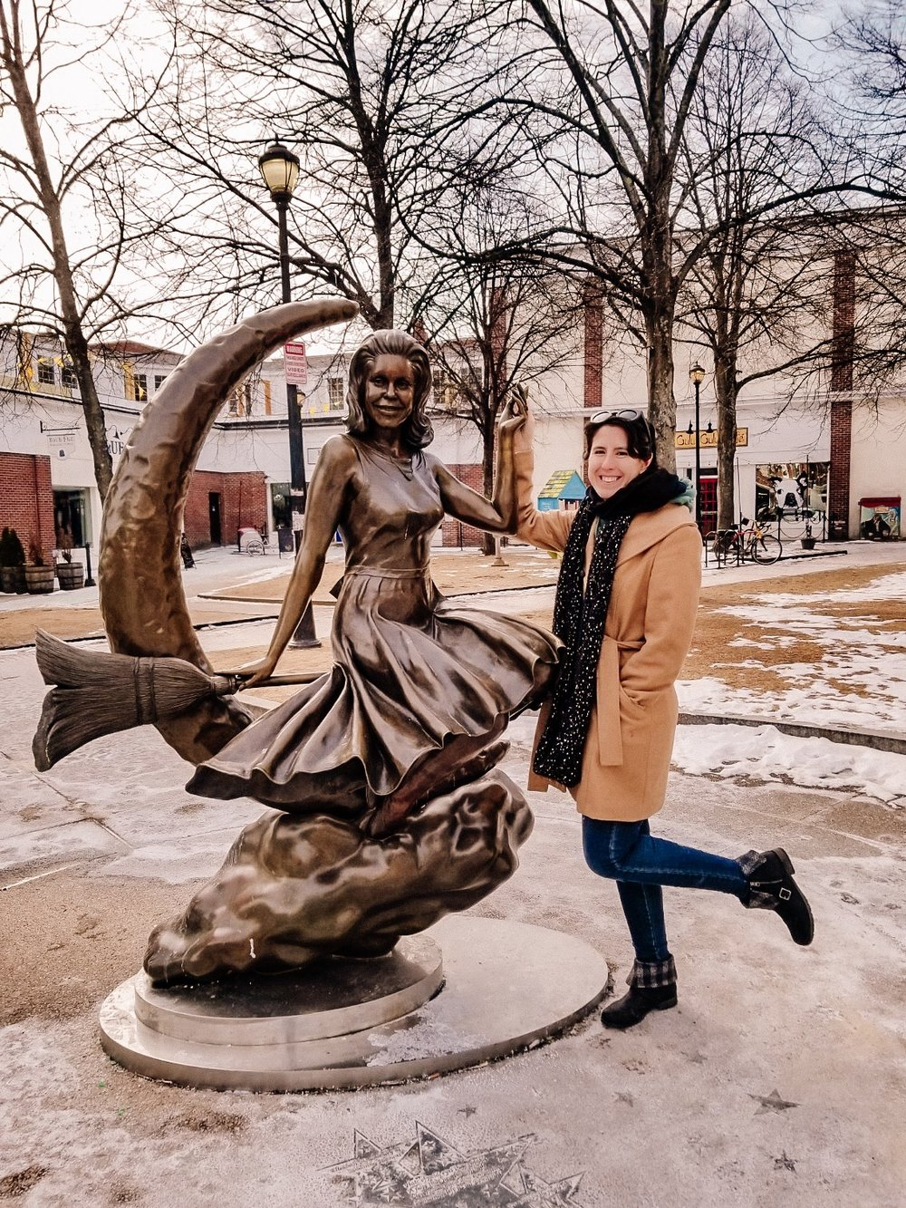Standing with the Bewitched Statue in Salem, Massachusetts