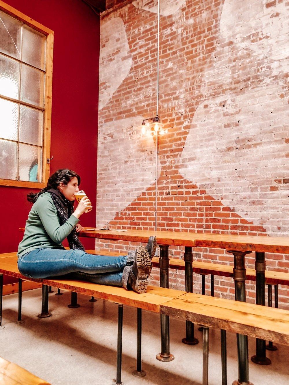 Sitting at Notch Brewery in Salem Massachusetts