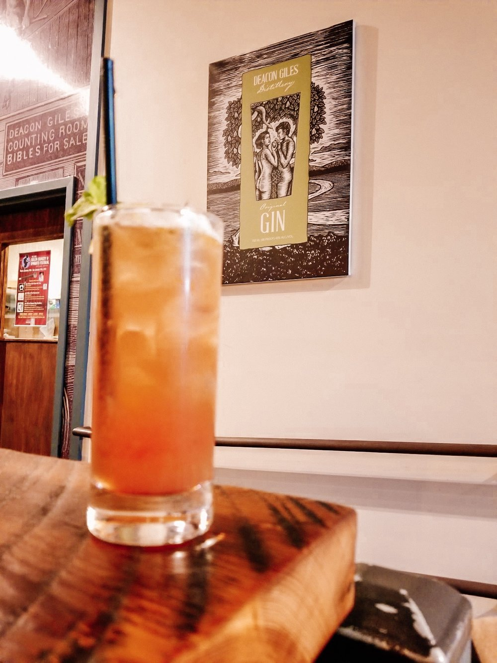 Mocktail at Deacon Giles distillery in Salem Massachusetts
