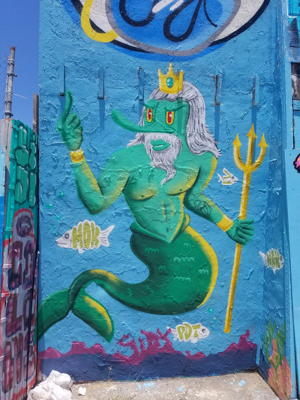 Poseidon for Under the sea themed mural for client 2018 San Francisco