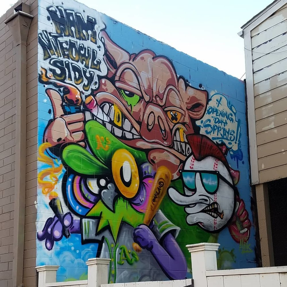 Opening Day Sprays collaboration with NiteOwl and Stay Bacon. Oakland CA 2018