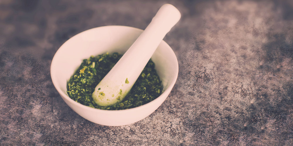 Pesto de fleur d'ail et d'amandes - Portions : 3Préparation : 15 minutes