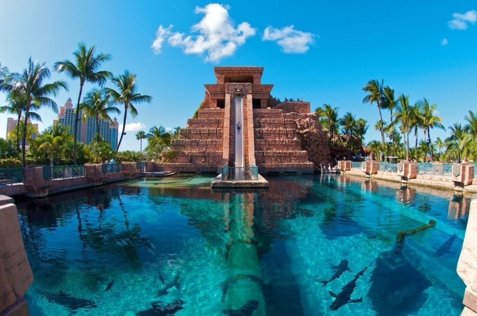 Leap of Faith, Bahamas    Indian Jones lovers behold! Imagine launching from the top of the Mayan Temple pyramid, shooting down 60 feet, and then zoom through a transparent tunnel under a pool filled with sharks.