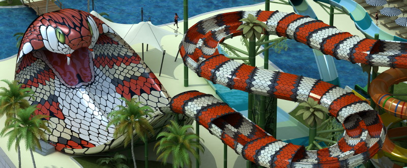 King Cobra, New Jersey  If your a reptile lover or want to face your fear of snakes check out this crazy king cobra themes slide in New Jersy! You hop on two seats inner tube and slither down a 250-foot-long to the top of a 50-foot tower. . As you approach the finish line, you'll plunge down a 25-foot drop and slide right to King Cobra's head and fangs, where he's spitting water out from his mouth, waiting for the chance to swallow you.